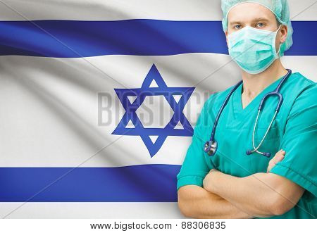 Surgeon With National Flag On Background Series - Israel