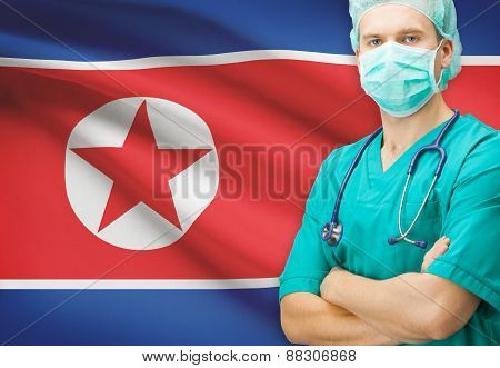 Surgeon With National Flag On Background Series - North Korea