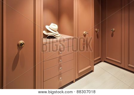 Interior beautiful apartment, elegant wardrobe
