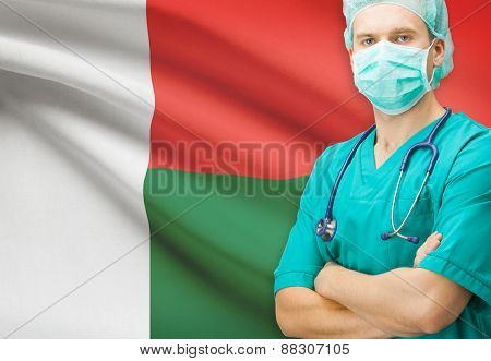 Surgeon With National Flag On Background Series - Madagascar