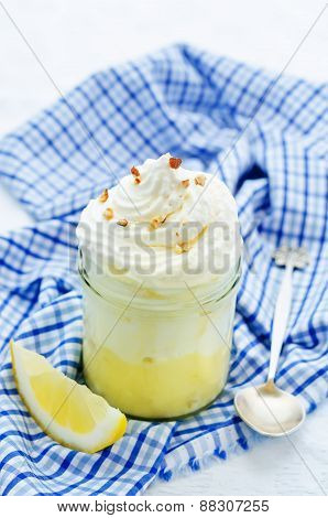 Layered Dessert With Lemon Cream, Ice Cream And Whipped Cream