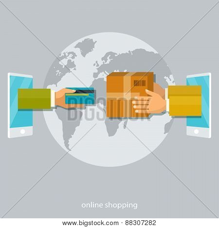Vector flat illustration. Shopping concepts, payment with card, delivery service.