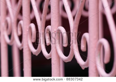 Design pink iron gate details.