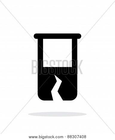 Broken test tube simple icon on white background.