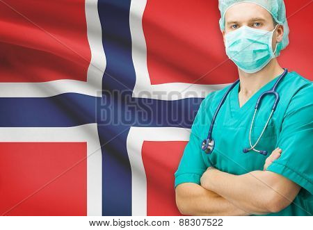 Surgeon With National Flag On Background Series - Norway