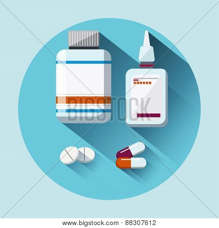 Medicament flat icon with long shadow. Healthcare and medical concept. Vector illustration