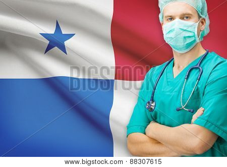 Surgeon With National Flag On Background Series - Panama