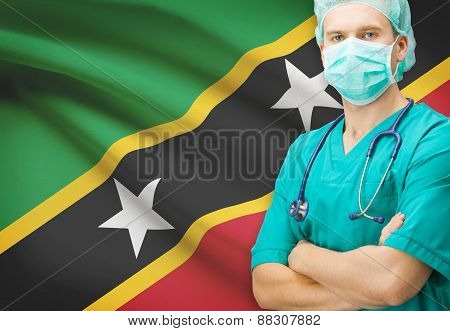 Surgeon With National Flag On Background Series - Saint Kitts And Nevis