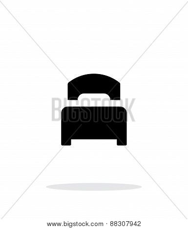 Single bed simple icon on white background.