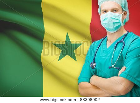 Surgeon With National Flag On Background Series - Senegal