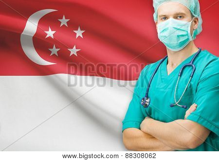 Surgeon With National Flag On Background Series - Singapore