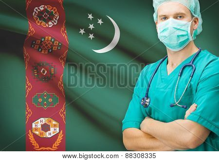 Surgeon With National Flag On Background Series - Turkmenistan