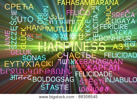 Background concept wordcloud multilanguage international many language illustration of happiness glowing light