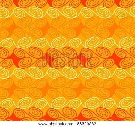 Quirky seamless waves pattern in warm colors