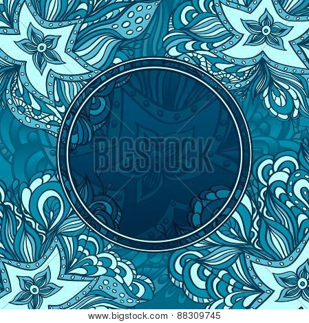 Background with doodle starfishes and porthole