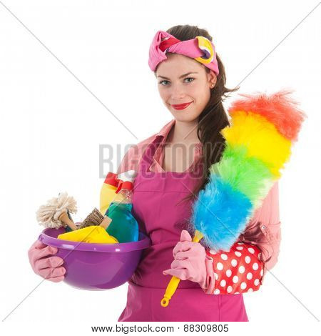 Portrait young female cleaner with full equipment isolated over white background