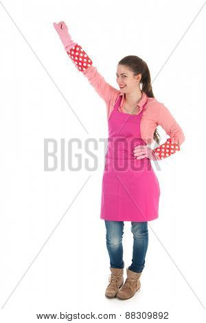Portrait young housewife ready for the job isolated over white background