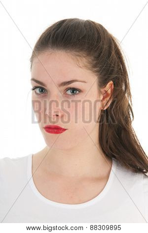 Portrait young female adult isolated over white background