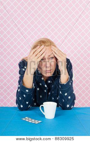 Woman of mature age awake at night
