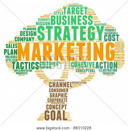 Tree Shaped Marketing Word Cloud