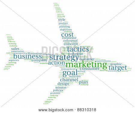 Marketing Jet Plane Shaped Word Cloud