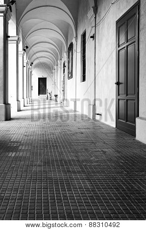 Monastery of Breme, colonnade. Black and white photo