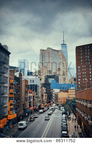 NEW YORK CITY - AUG 15: Chinatown street view August 15, 2014 in Manhattan, New York City. It is one of the largest ethnic Chinese communities outside of Asia with population of 90,000 to 100,000