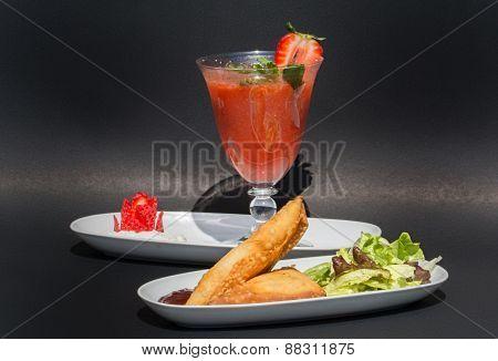 Two Samosas And Strawberry Juice
