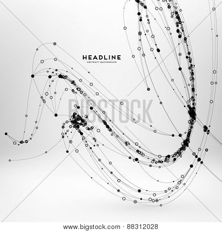 Abstract Background with Dots Array and Lines. Connection Structure. Geometric Modern Technology Concept. Digital Data Visualization. Social Network Graphic Concept
