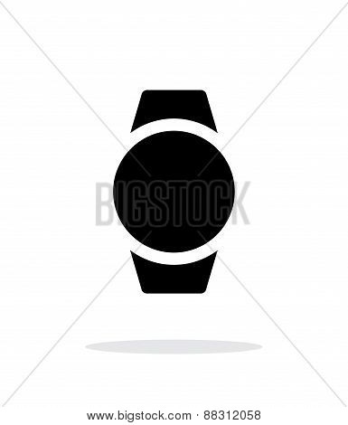 Round smart watch simple icon on white background.