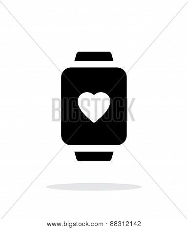 Heart on smart watch simple icon on white background.