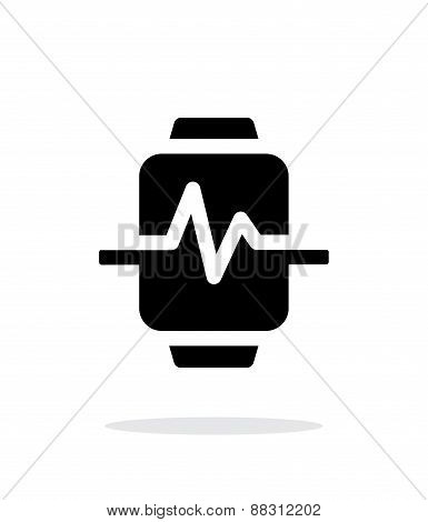 Pulse on smart watch simple icon on white background.