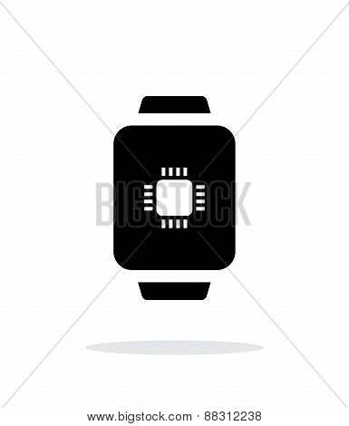 CPU in smart watch simple icon on white background.