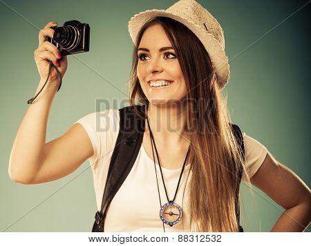 Woman Tourist Taking Photo With Camera