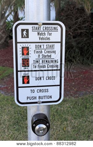 Crosswalk Signal Instruction Sign Closeup