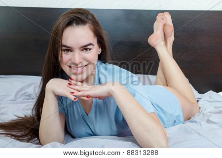 Girl On Bed Seducing Man While Looking At Camera