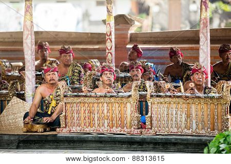 BALI, INDONESIA, DECEMBER, 24,2014: group of musicians play traditional Balinese music for Barong Dance show on December 24, 2014 in Bali, Indonesia