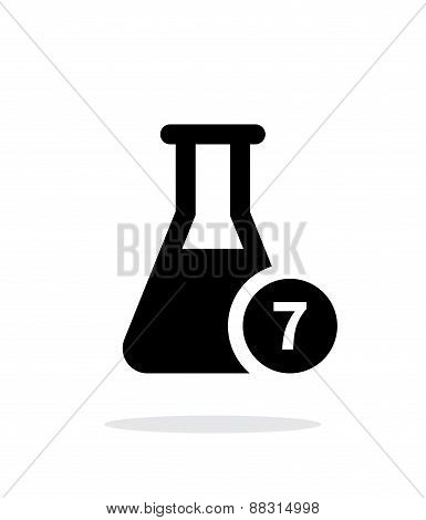 Flask with number simple icon on white background.