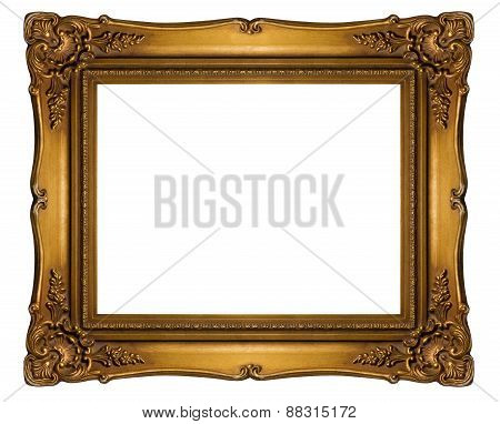 High Resolution Baroque Style Frame Cutout On White Isolated With Clipping Path, Gold