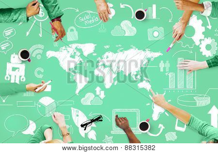Global Business Connection International Word Wide Concept