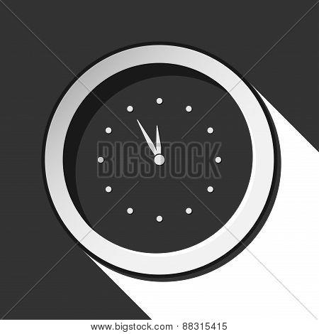 Dark Gray Icon With Clock