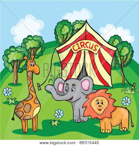 Bright cartoon illustration for children with circus animals