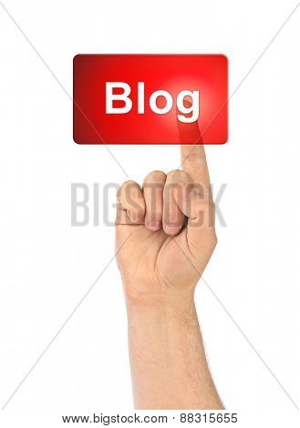 Hand and button Blog isolated on white background