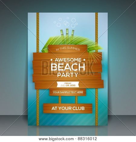 Summer Beach Party Flyer Design - EPS10 Vector Illustration