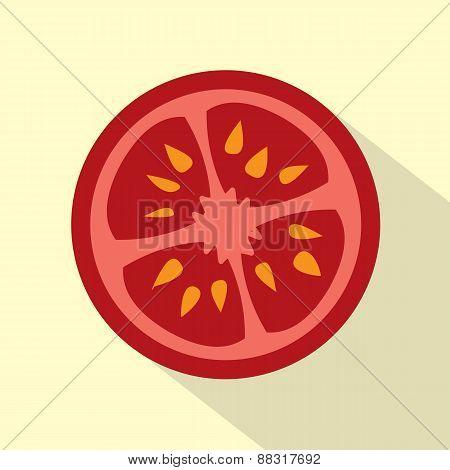 Flat Design Tomato Icon.