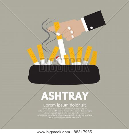 Ashtray With Cigarette Lighted.