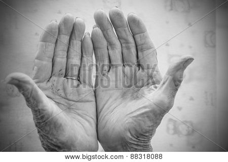 Hands Of The Old Woman. Black And White.