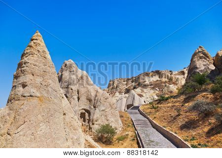 Cave city in Cappadocia Turkey - nature background