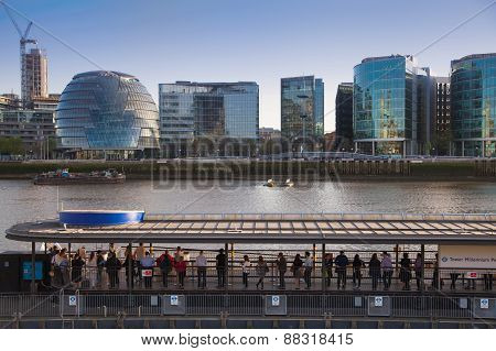 LONDON, UK - APRIL15, 2015: Modern buildings on the south bank of river Thames walk. Office centre,