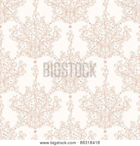 Vintage vector botanical damask seamless pattern background